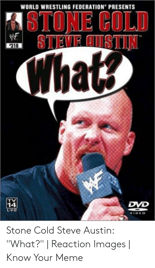 "Austin Meme: WORLD WRESTLING FEDERATION PRESENTS  STONE COLD  316  What  DVD  14 Stone Cold Steve Austin: ""What?"" 