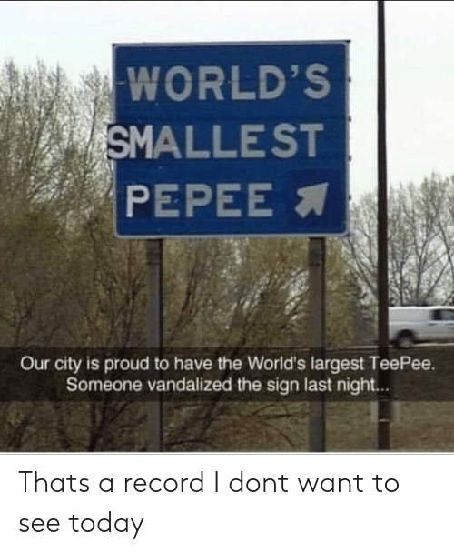 Pepee: WORLD'S  SMALLEST  PEPEE  Our city is proud to have the World's largest TeePee.  Someone vandalized the sign last night.. Thats a record I dont want to see today