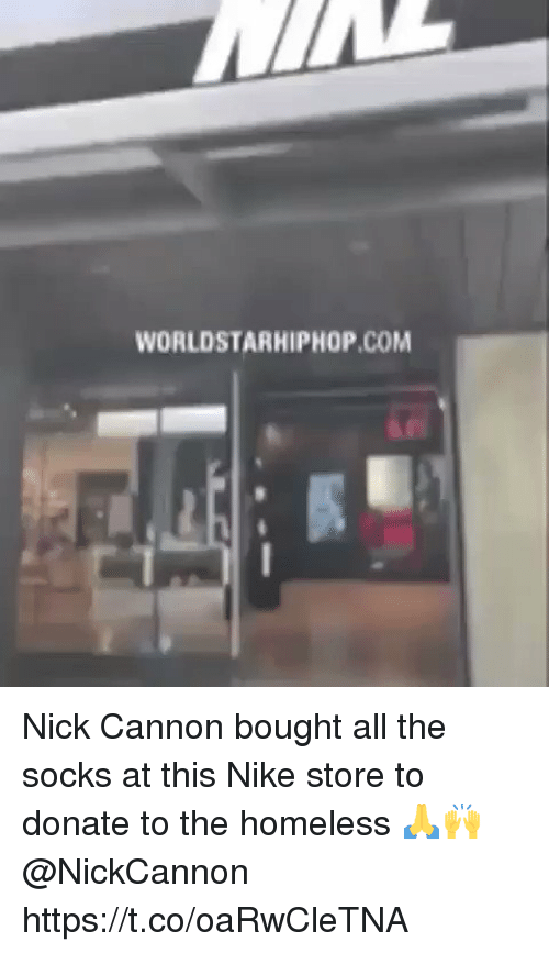 nick cannon: WORLDSTARHIPHOP.COM Nick Cannon bought all the socks at this Nike store to donate to the homeless 🙏🙌 @NickCannon https://t.co/oaRwCleTNA
