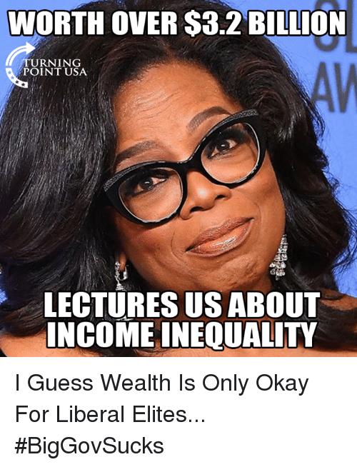 Memes, Guess, and Okay: WORTH OVER $3.2 BILLION  TURNING  POINT USA  LECTURES US ABOUT  INCOME INEQUALITY I Guess Wealth Is Only Okay For Liberal Elites... #BigGovSucks