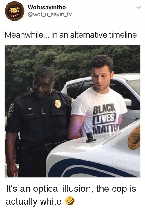 Black, White, and Girl Memes: Wotusayintho  @wot_u_sayin_tv  wus.  Meanwhile... in an alternative timeline  BLACK  LIVES  MATTE It's an optical illusion, the cop is actually white 🤣