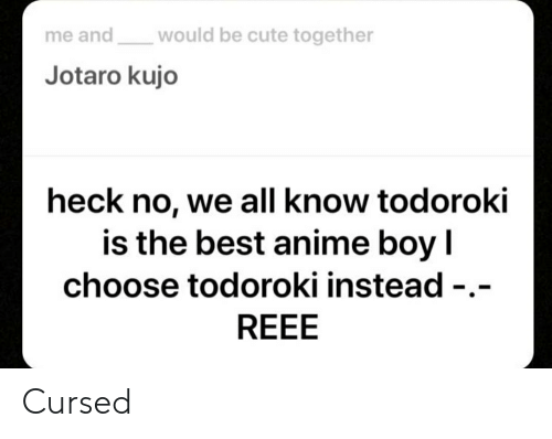Anime, Cute, and Best: would be cute together  me and  Jotaro kujo  heck no, we all know todoroki  is the best anime boy I  choose todoroki instead -.-  REEE Cursed