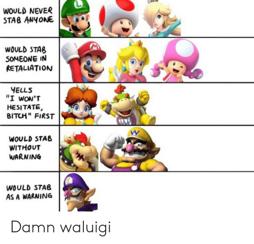 "Bitch, Never, and Waluigi: WOULD NEVER  STAB ANYONE  WOULD STAB  SOMEONE IN  RETALIATION  YELLS  ""I wON'T  HESITATE,  BITCH"" FIRST  WOULD STAB  WITHOUT  WARNING  WOULD STAB  AS A WARNING Damn waluigi"