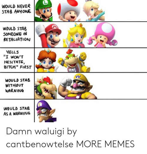 "Bitch, Dank, and Memes: WOULD NEVER  STAB ANYONE  WOULD STAB  SOMEONE IN  RETALIATION  YELLS  ""I wON'T  HESITATE,  BITCH"" FIRST  WOULD STAB  WITHOUT  WARNING  WOULD STAB  AS A WARNING Damn waluigi by cantbenowtelse MORE MEMES"