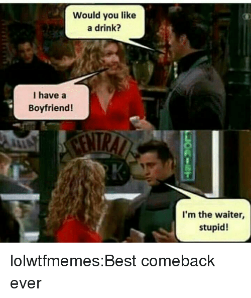 Tumblr, Best, and Blog: Would you like  a drink?  I have a  Boyfriend!  I'm the waiter,  stupid! lolwtfmemes:Best comeback ever