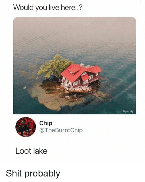 Memes, Shit, and Live: Would you live here.?  @pubity  Chip  @TheBurntChip  Loot lake Shit probably