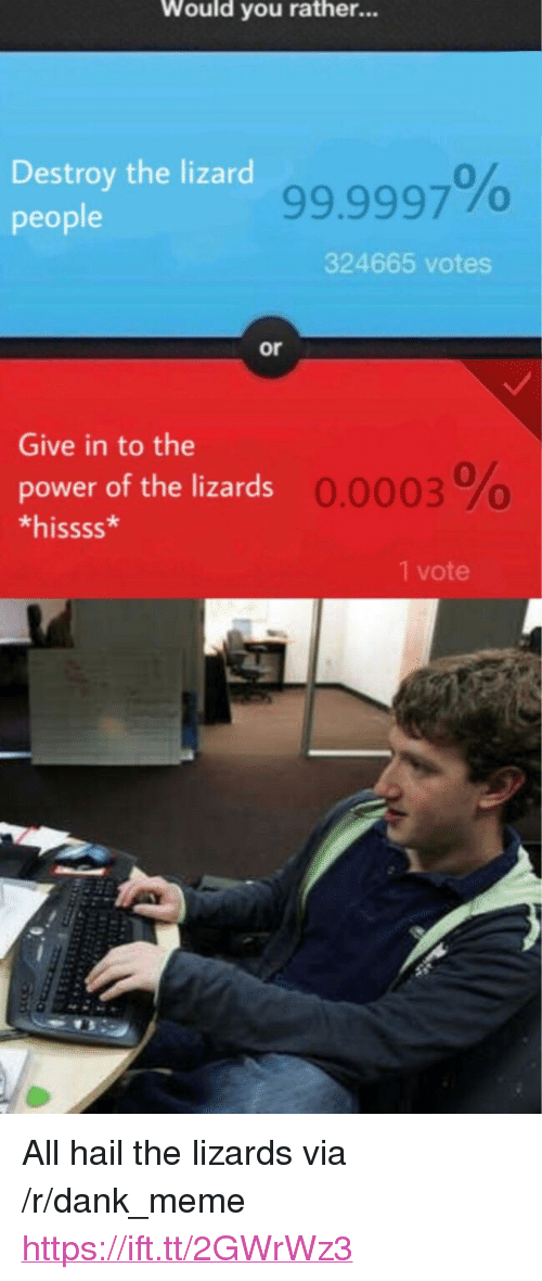 "Dank, Meme, and Would You Rather: Would you rather...  Destroy the lizard  people  99.9997%  324665 votes  or  Give in to the  power of the lizards  *hissss*  0.0003 %  1 vote <p>All hail the lizards via /r/dank_meme <a href=""https://ift.tt/2GWrWz3"">https://ift.tt/2GWrWz3</a></p>"
