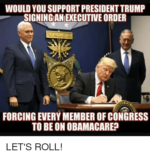 Lets Roll, Memes, and Obamacare: WOULD YOU SUPPORT PRESIDENT TRUMP  SIGNINGAN EXECUTIVE ORDER  FORCING EVERY MEMBER OF CONGRESS  TO BE ON OBAMACARE? LET'S ROLL!