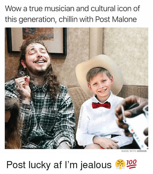 Af, Jealous, and Memes: Wow a true musician and cultural icon of  this generation, chillin with Post Malone  MADE WITH MOMUS Post lucky af I'm jealous 😤💯