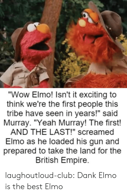 """Club, Dank, and Elmo: """"Wow Elmo! Isn't it exciting to  think we're the first people this  tribe have seen in years!"""" said  Murray. """"Yeah Murray! The first!  AND THE LAST!"""" screamed  Elmo as he loaded his gun and  prepared to take the land for the  British Empire. laughoutloud-club:  Dank Elmo is the best Elmo"""