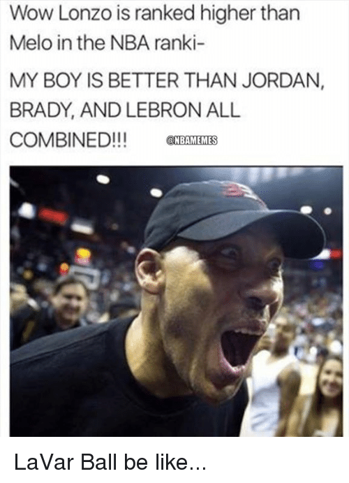 Be Like, Nba, and Wow: Wow Lonzo is ranked higher than  Melo in the NBA ranki-  MY BOY IS BETTER THAN JORDAN,  BRADY, AND LEBRON ALL  COMBINED!!!CBAMEMES LaVar Ball be like...