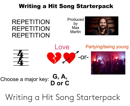major key: Writing a Hit Song Starterpack  REPETITION  REPETITION  REPETITION  Producec  by  Max  Martin  Love  Party  ing/being young  -or-  Choose a major key: G. A,.  D or C Writing a Hit Song Starterpack