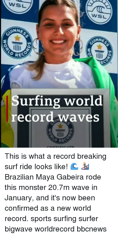 surfing: WSL  WSL  ANN  RECO  EC  Surfing world  record waves This is what a record breaking surf ride looks like! 🌊 🏄‍♀️ Brazilian Maya Gabeira rode this monster 20.7m wave in January, and it's now been confirmed as a new world record. sports surfing surfer bigwave worldrecord bbcnews