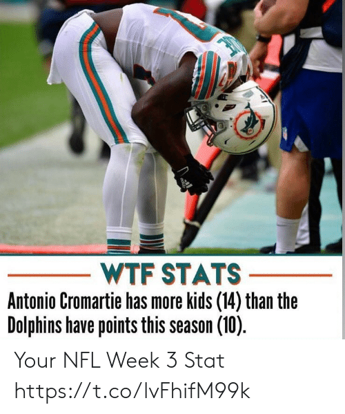 Antonio Cromartie, Memes, and Nfl: WTF STATS  Antonio Cromartie has more kids (14) than the  Dolphins have points this season (10) Your NFL Week 3 Stat https://t.co/lvFhifM99k
