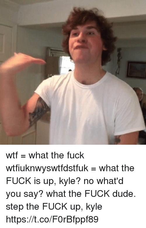Dude, Wtf, and Fuck: wtf = what the fuck wtfiuknwyswtfdstfuk = what the FUCK is up, kyle? no what'd you say? what the FUCK dude.  step the FUCK up, kyle https://t.co/F0rBfppf89