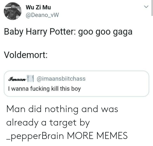 Dank, Fucking, and Harry Potter: Wu Zi Mu  @Deano_vW  Baby Harry Potter: goo goo gaga  Voldemort:  Simaan@imaansbiitchass  I wanna fucking kill this boy Man did nothing and was already a target by _pepperBrain MORE MEMES