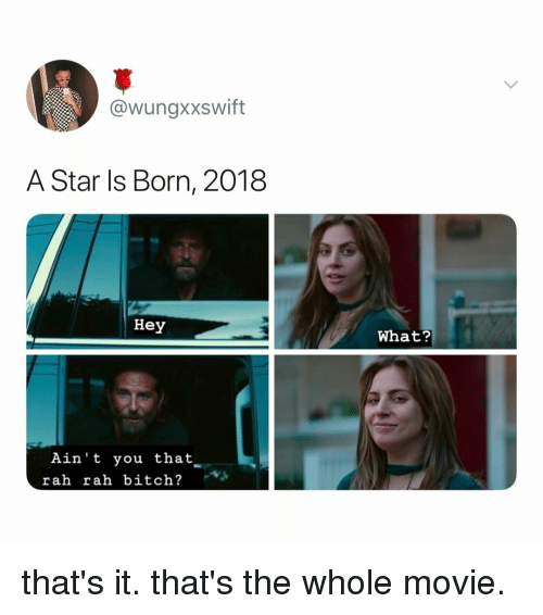 Bitch, Movie, and Star: @wungxxswift  A Star ls Born, 2018  Hey  What?  Ain't you that  rah rah bitch? that's it. that's the whole movie.