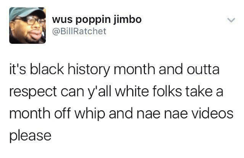 nae nae: wus poppin jimbo  @Bill Ratchet  it's black history month and outta  respect can y'all white folks take a  month off whip and nae nae Videos  please