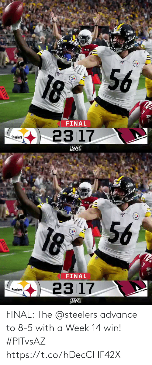 Memes, Steelers, and 🤖: WVB  56  18  FINAL  23 17  Steelers   WYB  56  18  FINAL  23 17  Steelers FINAL: The @steelers advance to 8-5 with a Week 14 win! #PITvsAZ https://t.co/hDecCHF42X