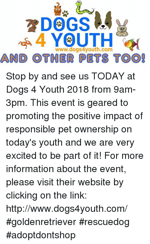 Dogs, Memes, and Pets: www.dogs4youth.com  AND OTHER PETS T Stop by and see us TODAY at Dogs 4 Youth 2018 from  9am-3pm. This event is geared to promoting the positive impact of responsible pet ownership on today's youth and we are very excited to be part of it! For more information about the event, please visit their website by clicking on the link: http://www.dogs4youth.com/    #goldenretriever #rescuedog #adoptdontshop