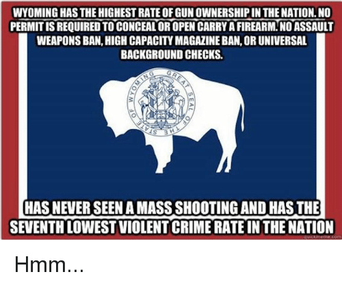 Crime, Memes, and Violent: WYOMING HAS THE HIGHEST RATE OF GUN OWNERSHIP IN THE NATION. NO  PERMIT IS REQUIRED TO CONCEAL OR OPEN CARRY A FIREARM.NO ASSAULT  WEAPONS BAN, HIGH CAPACITY MAGAZINE BAN, OR UNIVERSAL  BACKGROUND CHECKS.  HAS NEVER SEEN A MASS SHOOTING AND HAS THE  SEVENTH LOWEST VIOLENT CRIME RATE IN THE NATION Hmm...