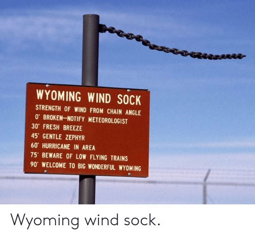 Fresh, Hurricane, and Wyoming: WYOMING WIND SOCK  STRENGTH OF WIND FROM CHAIN ANGLE  0 BROKEN-NOTIFY METEOROLOGIST  30 FRESH BREEZE  45 GENTLE ZEPHYR  60 HURRICANE IN AREA  75' BEWARE OF LOW FLYING TRAINS  90 WELCOME TO BIG WONDERFUL WYOMING Wyoming wind sock.