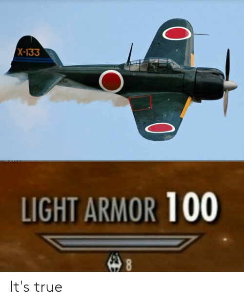 True, Light, and Armor: X-133  LIGHT ARMOR 100  8 It's true