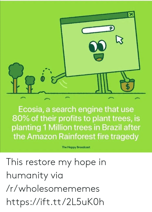 Profits: X  $  Ecosia, a search engine that use  80% of their profits to plant trees, is  planting 1 Million trees in Brazil after  the Amazon Rainforest fire tragedy  The Happy Broadcast  ( This restore my hope in humanity via /r/wholesomememes https://ift.tt/2L5uK0h