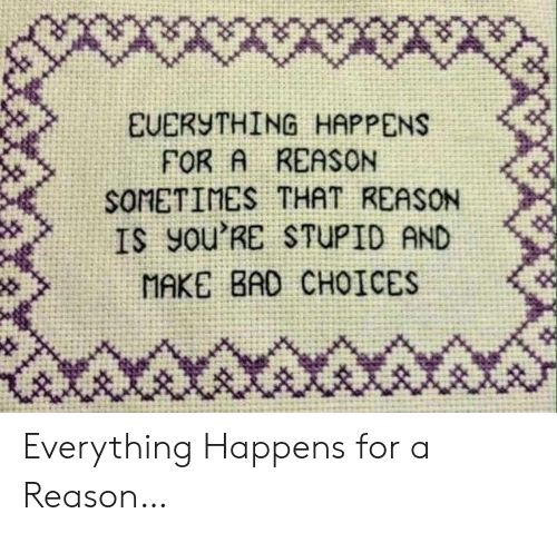 Youre Stupid: X*wwx  EUERYTHING HAPPENS  FOR A REASON  SOMETIMES THAT REASON  IS yOu'RE STUPID AND  MAKE BAD CHOICES Everything Happens for a Reason…