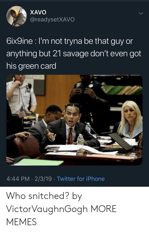 green card: XAVO  @readysetXAVO  6ix9ine l'm not tryna be that guy or  anything but 21 savage don't even got  his green card  4:44 PM. 2/3/19 Twitter for iPhone Who snitched? by VictorVaughnGogh MORE MEMES