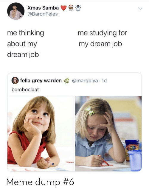 Bomboclaat: Xmas Samba  @BaronFeles  me thinking  me studying for  about my  my dream job  dream job  fella grey warden  @margblya 1d  bomboclaat Meme dump #6