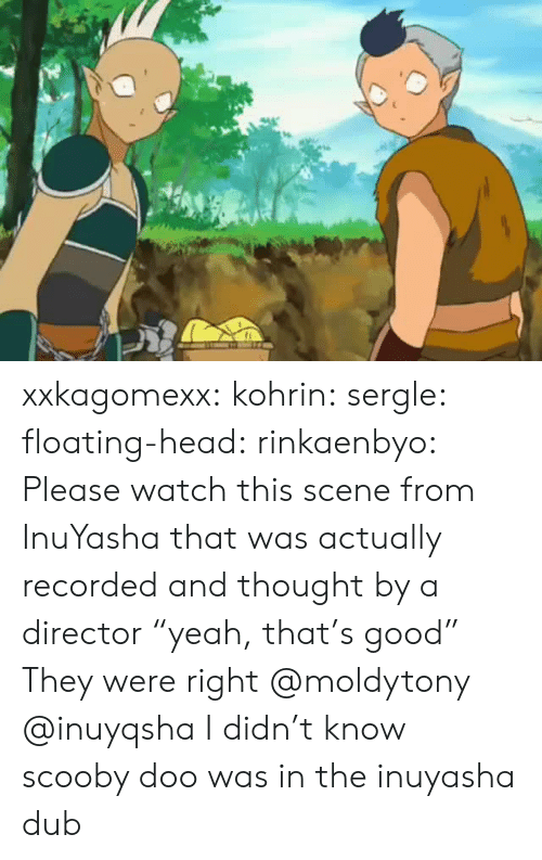 """Head, Scooby Doo, and Target: xxkagomexx:  kohrin: sergle:  floating-head:  rinkaenbyo:  Please watch this scene from InuYasha that was actually recorded and thought by a director """"yeah, that's good""""  They were right  @moldytony   @inuyqsha    I didn't know scooby doo was in the inuyasha dub"""