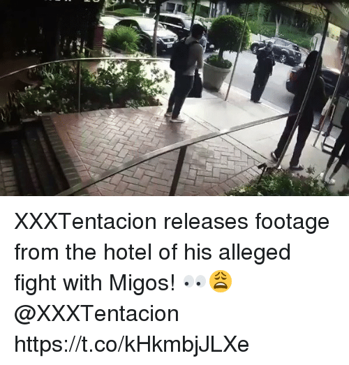 Migos, Hotel, and Fight: XXXTentacion releases footage from the hotel of his alleged fight with Migos! 👀😩 @XXXTentacion https://t.co/kHkmbjJLXe