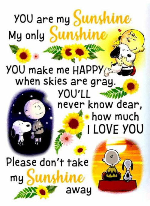 Love, Memes, and I Love You: y Sunshine  My only Sunshine  YOU are  YOU make me HAPPY  when skies are gray  YOU'LL  never know dear,  how much  I LOVE YOU  Please don't take  Sunshine  awag