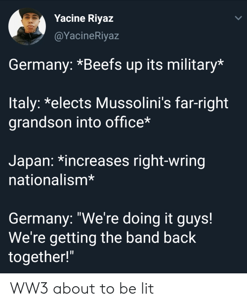 "Nationalism: Yacine Riyaz  @YacineRiyaz  Germany: *Beefs up its military*  ltaly: *elects Mussolini's far-right  grandson into office*  Japan: *increases right-wring  nationalism*  Germany: ""We're doing it guys!  We're getting the band back  together!"" WW3 about to be lit"