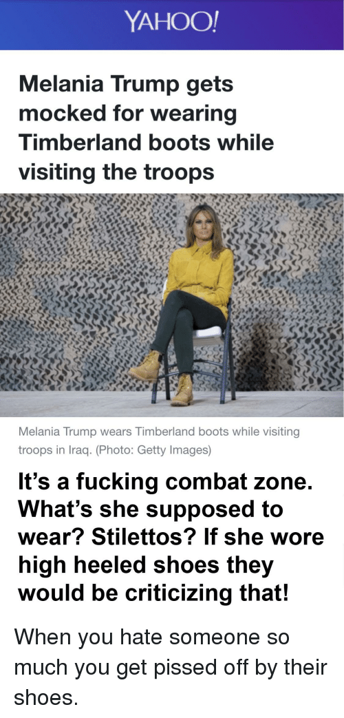 2efa16681874 YAHOO! Melania Trump Gets Mocked for Wearing Timberland Boots While ...