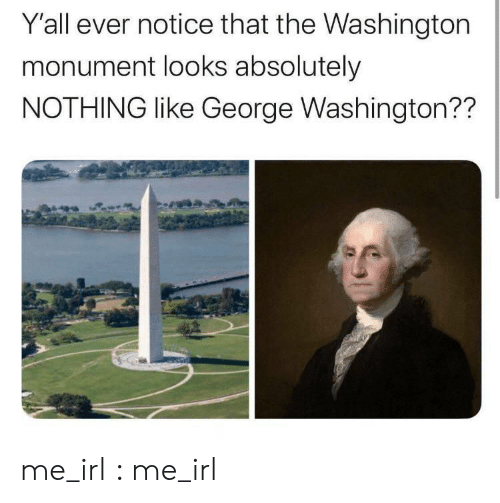 George Washington, Irl, and Me IRL: Y'all ever notice that the Washington  monument looks absolutely  NOTHING like George Washington?? me_irl : me_irl