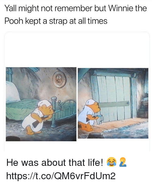 Life, Winnie the Pooh, and All: Yall might not remember but Winnie the  Pooh kept a strap at all times He was about that life! 😂🤦♂️ https://t.co/QM6vrFdUm2