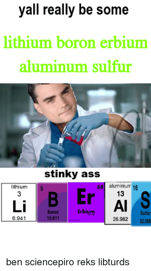 Ass, Lithium, and Sulfur: yall really be some  lithium boron erbium  aluminum sulfur  stinky ass  lithium  68 aluminium 16  Er  13  Al  Erbium  Boron  10.811  Sulfur  32.066  6.941  26.982