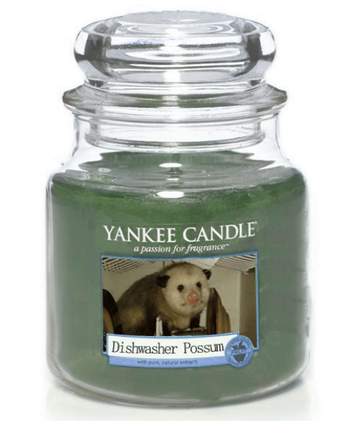 Possum: YANKEE CANDLE  a passion for fragrance  Dishwasher Possum