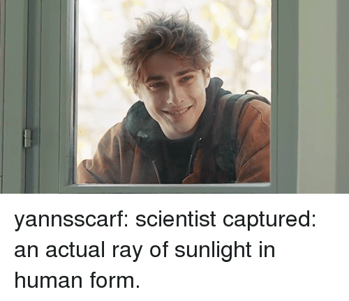 Tumblr, Blog, and Http: yannsscarf:  scientist captured: an actual ray of sunlight in human form.