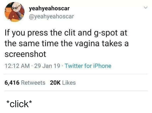 Blackpeopletwitter, Click, and Funny: yeahyeahoscar  @yeahyeahoscar  If you press the clit and g-spot at  the same time the vagina takes a  screenshot  12:12 AM 29 Jan 19 Twitter for iPhone  6,416 Retweets 20K Likes