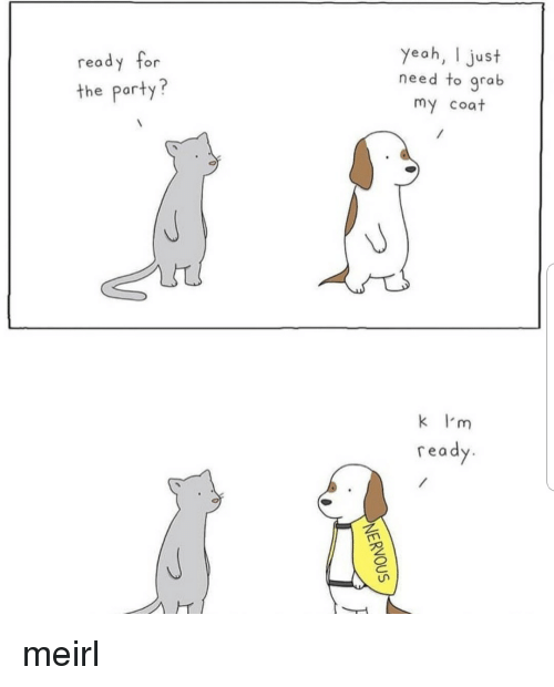 Party, MeIRL, and For: yeoh, I just  need to grab  my coat  read  y for  the party?  k I'm  read meirl