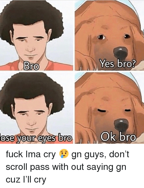 Fuck, Dank Memes, and Yes: Yes bro?  Bro  ose your eyes Dro  Ok bro  0  0 fuck Ima cry 😢 gn guys, don't scroll pass with out saying gn cuz I'll cry