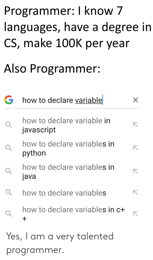 Yes I: Yes, I am a very talented programmer.