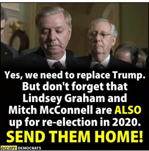 mitch: Yes, we need to replace Trump.  But don't forget that  Lindsey Graham and  Mitch McConnell are ALSO  up for re-election in 2020.  SEND THEM HOME!  OCCUPY DEMOCRATS