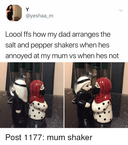 Dad, Memes, and Annoyed: @yeshaa_m  Loool ffs how my dad arranges the  salt and pepper shakers When nes  annoyed at my mum vs when hes not  2 Post 1177: mum shaker