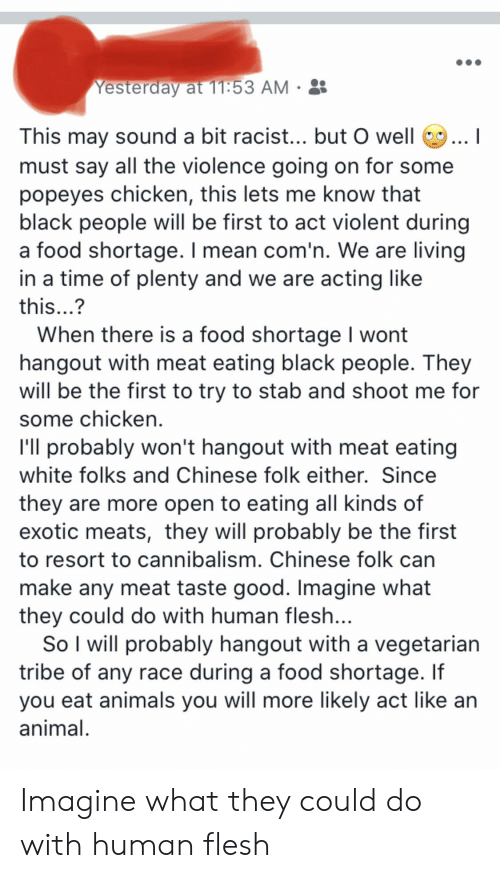 Animals, Food, and Popeyes: Yesterday at 11:53 AM  This may sound a bit racist... but O well  must say all the violence going on for some  popeyes chicken, this lets me know that  black people will be first to act violent during  a food shortage. I mean com'n. We are living  in a time of plenty and we are acting like     this...?  When there is a food shortage I wont  hangout with meat eating black people. They  will be the first to try to stab and shoot me for  some chicken  I'll probably won't hangout with meat eating  white folks and Chinese folk either. Since  they are more open to eating all kinds of  exotic meats, they will probably be the first  to resort to cannibalism. Chinese folk can  make any meat taste good. Imagine what  they could do with human flesh...  So I will probably hangout with a vegetarian  tribe of any race during a food shortage. If  you eat animals you will more likely act like an  animal Imagine what they could do with human flesh