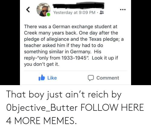 "Dank, Memes, and Target: Yesterday at 9:09 PM-  There was a German exchange student at  Creek many years back. One day after the  pledge of allegiance and the Texas pledge; a  teacher asked him if they had to do  something similar in Germany. His  reply-""only from 1933-1945"". Look it up if  you don't get it.  b Like  Comment That boy just ain't reich by 0bjective_Butter FOLLOW HERE 4 MORE MEMES."