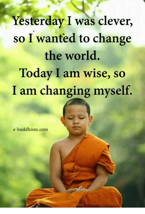 Cleverity: Yesterday I was clever,  so I wanted to change  the world  Today I am wise, so  I am changing myself.  e-buddhism com